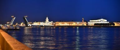 Neva River and the Vasilevsky Island Stock Image