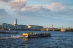 Neva River. View of the city of St. Petersburg from the Neva River stock images