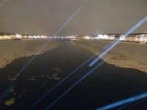 Neva river water lay the snow melts split light man profile.  Stock Images