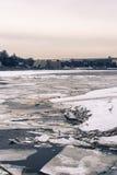 Neva rzeka w zimie Zdjęcie Royalty Free