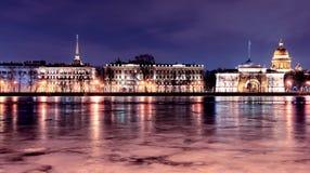 Neva`s embankment in St. Petersburg, night Stock Photos