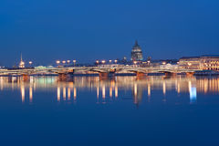 Neva and St. Isaac's Cathedral. Night view from the Neva river to St. Isaac's Cathedral Stock Image