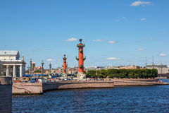 Neva view with Rostral Columns Royalty Free Stock Photos