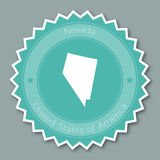 Nevada badge flat design. Round flat style sticker of trendy colors with the state map and name. US state badge vector illustration Royalty Free Stock Images