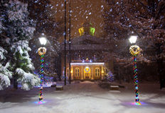 Nevada Capitol in winter. The Nevada state Capitol Building, in Carson City, Nevada. Christmas lights in the middle of a snowstorm royalty free stock photo