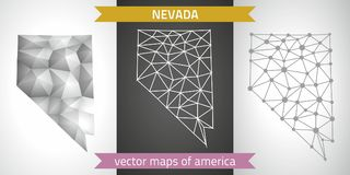 Nevada collection of vector design modern maps, gray and black and silver dot outline mosaic 3d map. Set of Nevada polygonal mosaic modern maps Royalty Free Stock Photos