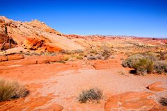 Nevada desert landscape. Red landscape of the Nevada desert at Valley of Fire State Park, USA stock photos