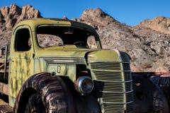 Nevada desert. Old rusty car in Nevada desert stock photos