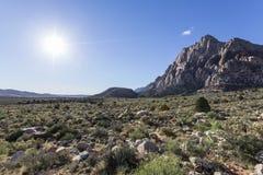 Nevada Desert Sun. Bright morning sun at Red Rock Canyon National Conservation Area near Las Vegas, Nevada Stock Image