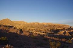 Nevada Desert Sunset Horseback Shadow imagen de archivo