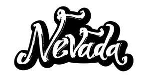 nevada etikett Modern kalligrafihandbokstäver för serigrafitryck Royaltyfria Foton