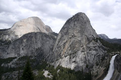 Nevada Fall, Liberty Cap and Half Dome. Stock Images