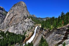 Nevada fall in Yosemite National Park. Wide angle shot of Nevada fall in Yosemite National Park Royalty Free Stock Images