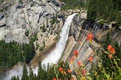 Nevada Fall Yosemite nationalpark, Kalifornien Arkivbilder