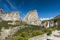 Nevada Falls. Beautiful Nevada Falls is located on Merced river and under mighty Liberty Dome grantite cap. Yosemite National Park, California, USA stock photos