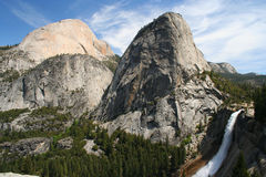 Nevada falls, Half Dome and Liberty Cap, Yosemite Royalty Free Stock Image
