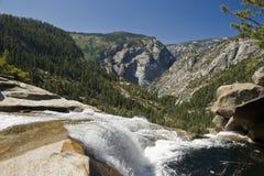 Nevada Falls at the Yosemite National Park. The vast beauty of the Yosemite John Muir Trail in the Yosemite National Park stock photography