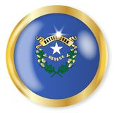 Nevada Flag Button. Nevada state flag button with a gold metal circular border over a white background Royalty Free Stock Images