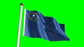 Nevada flag. Seamless  green screen stock footage