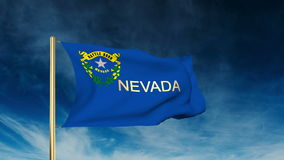 Nevada flag slider style with title. Waving in the stock video