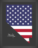 Nevada map with American national flag illustration Royalty Free Stock Photos
