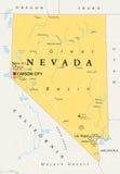 Nevada political map Royalty Free Stock Photos