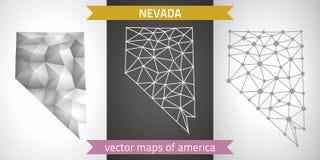 Nevada-Sammlung der modernen Karten-, Grauer und Schwarzer und silbernerdes punktentwurfs-Mosaiks 3d Karte des Vektordesigns Lizenzfreie Stockfotos