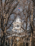 Nevada State Capitol dome. The dome and flags through the trees, Nevada State Capitol, Carson City Royalty Free Stock Photography