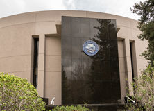 Nevada State Legislature building entrance in Carson City. Great Seal of Nevada on side of the State Legislature of Nevada in Carson City Royalty Free Stock Photography