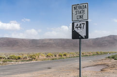 Nevada state line sign Royalty Free Stock Photography