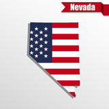 Nevada State map with US flag inside and ribbon Stock Image