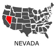 Nevada state on USA map Royalty Free Stock Photo