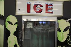 America. Nevada / USA - August 22, 2015: A alien picture on a fridge at The Area 51 Alien Center in a gas station in the Nevada desert, Amargosa Valley, Nevada royalty free stock photography