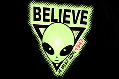 America. Nevada / USA - August 22, 2015: A alien picture on a t-shirt at The Area 51 Alien Center in a gas station in the Nevada desert, Amargosa Valley, Nevada stock photos