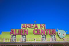America. Nevada / USA - August 22, 2015: The Area 51 Alien Center at a gas station in the Nevada desert, Amargosa Valley, Nevada stock images
