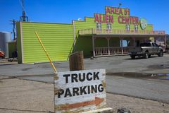 America. Nevada / USA - August 22, 2015: A gas station at The Area 51 Alien Center in the Nevada desert, Amargosa Valley, Nevada royalty free stock photography