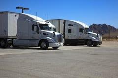 America. Nevada / USA - August 22, 2015: Truks near a gas station at The Area 51 Alien Center in the Nevada desert, Amargosa Valley, Nevada stock photos