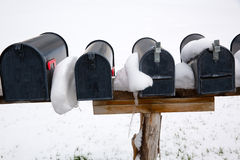 Nevada USA mailboxes with snow Royalty Free Stock Photography