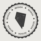 Nevada vector sticker. Hipster round rubber stamp with US state map. Vintage passport stamp with circular Nevada text and stars, USA map vector illustration Stock Photos