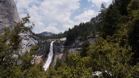 Nevada waterfall on mist trail. Nevada waterfall on the famous mist trail in yosemite national park stock video