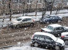 nevadas El principio del invierno Imagen de archivo