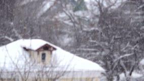 Nevadas en el invierno en la ciudad, mañana de la Navidad nevosa suave con nieve que cae almacen de metraje de vídeo