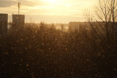 Nevadas en puesta del sol Imagen de archivo libre de regalías