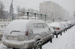 Nevadas fortes em Bucareste Fotografia de Stock