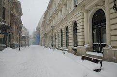Nevadas fortes em Bucareste Imagens de Stock Royalty Free