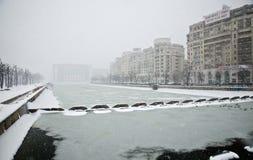 Nevadas fortes em Bucareste Fotografia de Stock Royalty Free