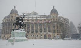 Nevadas fortes em Bucareste Fotos de Stock