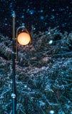 Nevadas y linterna de la noche Fotos de archivo libres de regalías