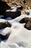Nevado De Toluca Xinantecatl skały z śniegiem zdjęcia royalty free
