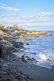 Nevado e rochoso negligencie do oceano e da costa durante o inverno imagens de stock